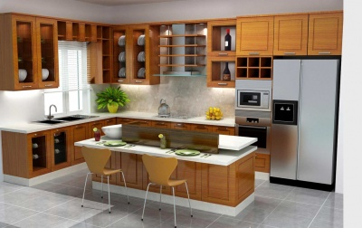 Kệ bếp gỗ tự nhiên